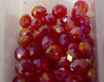20 Red transparent Crystal beads 6 * 4mm