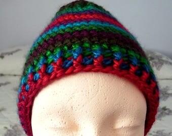 Crocheted Ponytail Hat, Messy Bun Hat, Open Top Hat, Skull/Beanie Hat,Ladies Winter Hats-'Apple Orchard'
