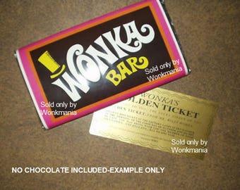 7 oz. sized Willy Wonka chocolate bar wrapper & Golden ticket (no chocolate)