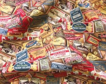 Rare Antique Scrapbook Chocolate Bars by Woodrow Studio - Patchwork Quilting Dressmaking Fabric