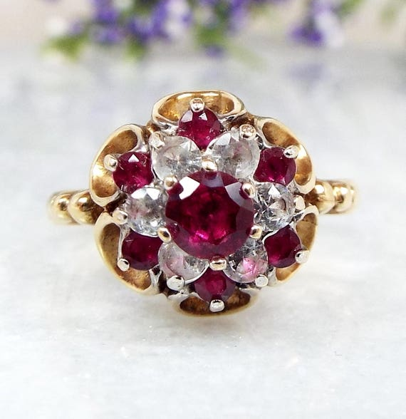 Vintage 1972 9ct Yellow Gold Ruby and White Spinel Cluster Crown Ring / Size M