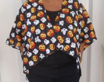 ghosts and pumpkins on cotton wrap