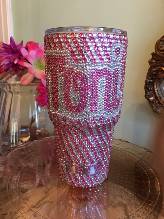 Rhinestone 30 oz Yeti Rambler with Monogram Bicolor