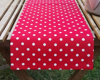 Red Polka Dots Table Runner, Premium Cotton table runner, Water Resistant Stain Resistant Runner, Table Cloth, bright red white polka dots