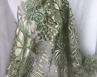 Gorgeous Lace Fabric Green and Gold Embroidered Floral Fabric Fancy Wedding Gown or Prom Dress Fabric