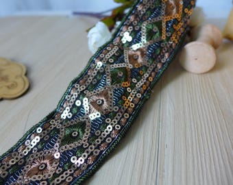 Vintage Beaded Lace Ethnic Style Sequined Ribbon for DIY Dresses, Hat, Necklace or Belt