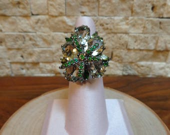 Chrome Diopside and Green Amethyst Ring set in Oxidized Sterling Silver size 7 1/2