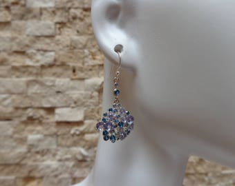 Blue Montana Topaz and Tanzanite drop earrings in Sterling Silver