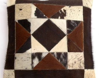 Natural Cowhide Luxurious Patchwork Hairon Cushion/pillow Cover (15''x 15'')a124