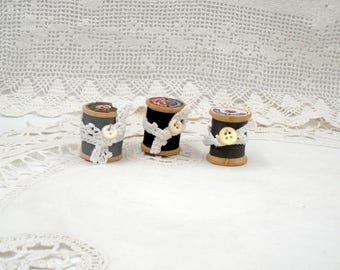 Vintage Wooden Spools of Thread-Set of Three in Black and Grey