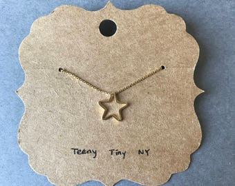 Tiny Mini Open Star Gold Necklace - Sterling Silver