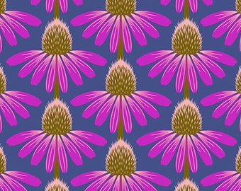 Echinacea Cone Flower Fabric Floral Retrospective by Anna Marie Horner