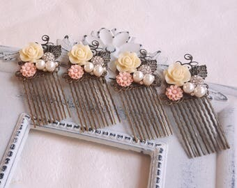 Ivory white Blush pink Pearl and rhinestone assemblage brass hair comb Flower girl Bridal Bridesmaid hair comb accessory