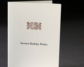 Birthday card, letterpress printed