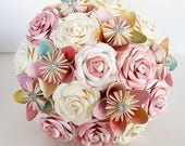 Paper Flower Wedding Origami Rose Bouquet ombre water colour pastel rainbow whimsical vintage dress theme wedding alternative shoes dress