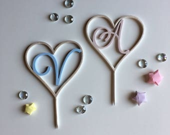 Cake topper heart with initials for weddings and ceremonies