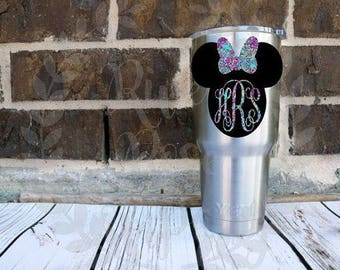 Lilly Disney Monogram Decal | Minnie Mouse Monogram Decal | Disney Yeti Decal | Disney Laptop Decal | Minnie Mouse Decal | Minnie Car Decal