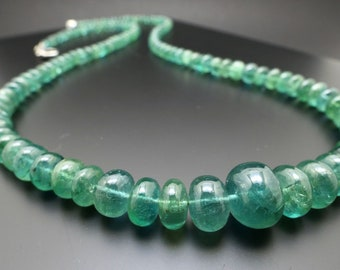 Rare bluish green emerald necklace  ZE08 natural Zambia emerald / jewelry Natural gemstone necklace