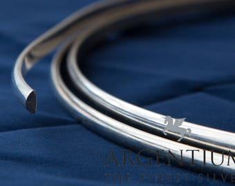 935 Argentium Sterling Silver Half-Round Wire (Soft)
