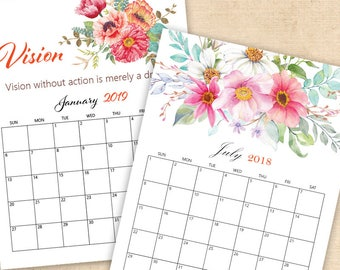 2018 and 2019 watercolor floral calendar,  Printable Watercolor Botanical Monthly Calendar,Template Calendar, Monthly Page, DIGITAL DOWNLOAD