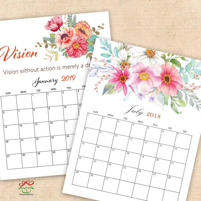 2018 and 2019 watercolor floral calendar Printable