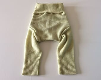 SMALL 100%  Wool Cloth Diaper Cover, Upcycled Wool Soaker, Wool Longies