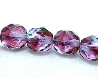 Two Tone Fuchsia Violet 8mm Firepolish Round Faceted Czech Glass Beads x 12