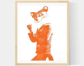 Fantastic Mr Fox, Fantastic Mr Fox Print, Orange Watercolor Style Nursery Art Print, Wall Art