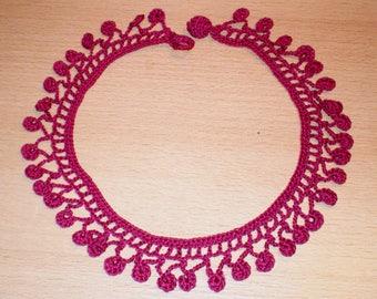 Crochet Collier, Wine coloured necklace crocheted, Handmade crocheted jewellery
