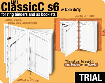 Trial [Half Letter ClassicC S6 with DS5 do1p] November to December 2017 - Filofax Inserts Refills Printable Binder Planner Midori.