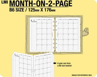 MO2P Oct 2017 to December 2019 / B6 month-on-2-page MON - Filofax Inserts Refills Printable Binder Planner.