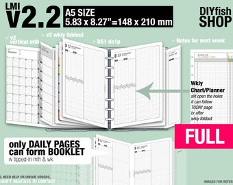 FULL [A5 v2.2 w DS1 do1p] January to December 2018 - Filofax Inserts Refills Printable Binder Planner Midori.