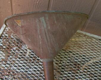 Vintage Extra Large  COPPER Funnel Primitive Funnel Lots of Wonderful Patina Make a Hanging Light Planter Decor Primitive Decor