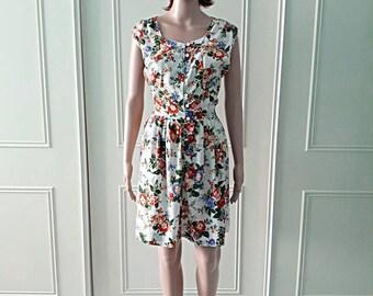 Handmade dress summer dress 1980's vintage dress short dress floral print dress ladies dress size 14