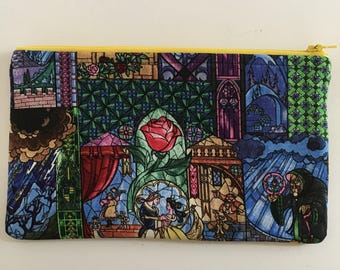 Disney-Inspired Beauty and the Beast Stained Glass Handmade Fabric Large Zipper Pouch/Cosmetic Bag
