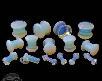 "Opalite Glass Plugs - Single Flare with Grooves Sizes / Gauges (8G - 1/2"")"