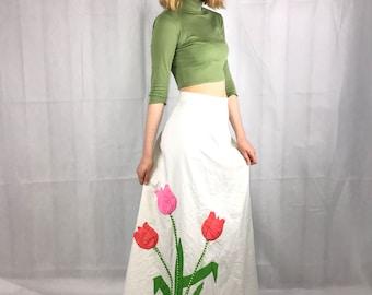 1960's 70's White Maxi Skirt