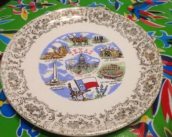 Vintage ceramic souvenir plate- Texas, The Lone Star State