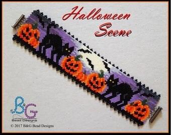 HALLOWEEN SCENE Peyote Bracelet Cuff Pattern