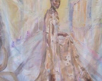 100% Silk scarf with original art by Carolannstudios, gorgeous !