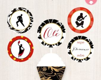 Flamenco Cupcake Toppers Flamenco Themed Spanish Themed Party Flamenco Party (5) Designs Digital File Instant Download
