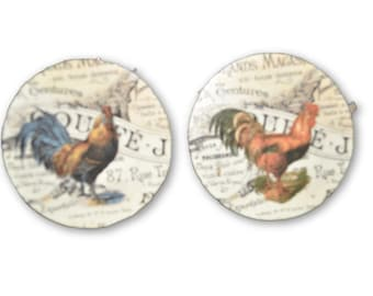 Set of 2 French Country Chickens Round Wood Fan / Light Pull