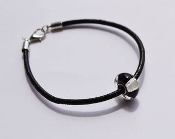 "Bracelet black leather with charm ""Murano"""