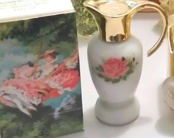 70s PARISIAN Garden Perfume Bottle Miniature Vintage AVON Cologne Sonnet UNUSED Shabby Roses Victorian French Chic 1970s Mini Fragrance Gift