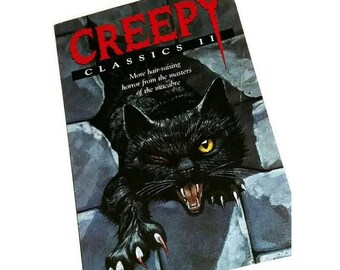 Vintage CREEPY CLASSICS Book Scary Halloween Black Cat Macabre Horror Story Book Poe Conan Doyle Haunted Stories Fiction Goth Ephemera Gift
