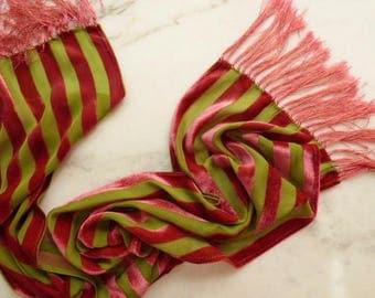 Burnout Velvet Scarf Silk Scarf With Fringe Striped Velvet Scarf