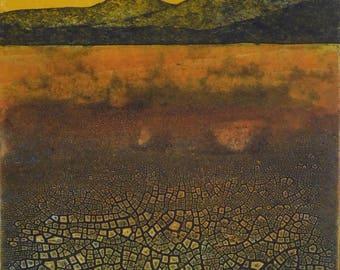 Sunrise - mountains, red, orange, cracked earth, heat, dry hot