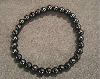 6 mm black onyx beaded bracelet