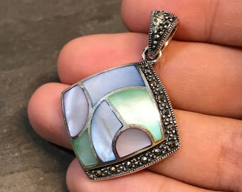 Vintage sterling silver handmade pendant, 925 silver with green and blue mother of pearl inlay and marcasite around, stamped 925 RG