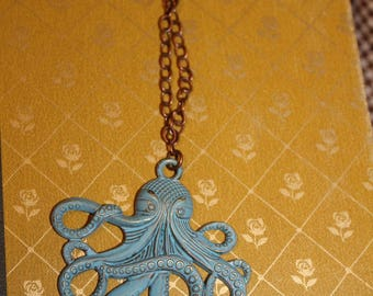 Blue octopus necklace